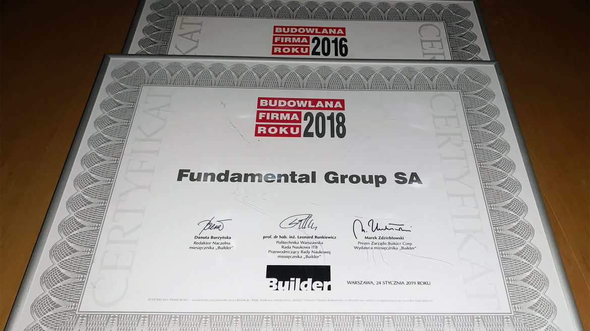 Fundamental Group po raz piąty wśród lauretaów BUILDER AWARDS 2018